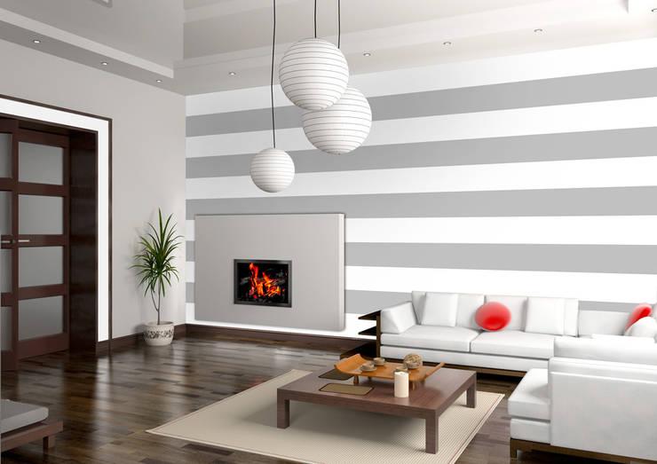 Tapeta w pasy poziome biało-szara: styl , w kategorii Ściany zaprojektowany przez Dekoori