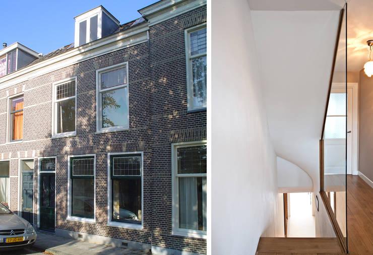 Voorzijde herenhuis met vernieuwde trappenhuis:  Gang en hal door Lab-S