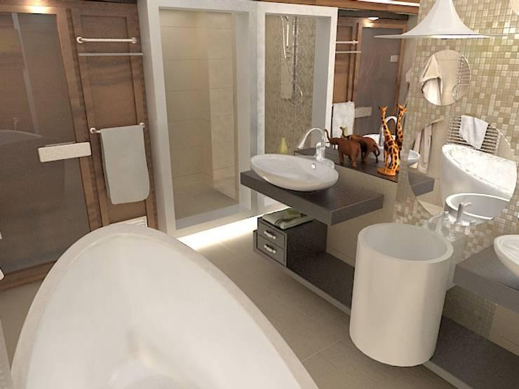 Двухуровневая квартира по ул. Чкалова: Ванные комнаты в . Автор – Галина Глебова