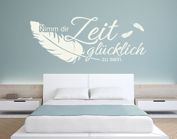 Wandtattoo Nimm Dir die Zeit: moderne Schlafzimmer von Klebefieber.de - Apalis GmbH