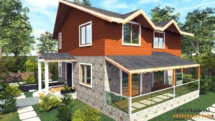 PORTAKAL MİMARLIK MÜHENDİSLİK İNŞAAT RÖLÖVE VE RESTORASYON – Abant Villa Projesi:  tarz Evler