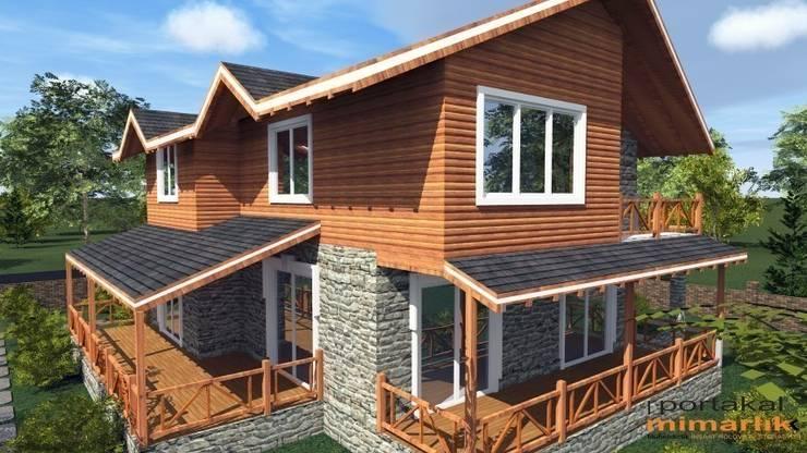 PORTAKAL MİMARLIK MÜHENDİSLİK İNŞAAT RÖLÖVE VE RESTORASYON – Abant Villa Projesi: modern tarz Evler