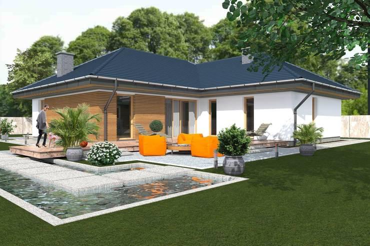 DZ-3 – dom energoszczędny: styl klasyczne, w kategorii Domy zaprojektowany przez ABC Pracownia Projektowa Bożena Nosiła - 1
