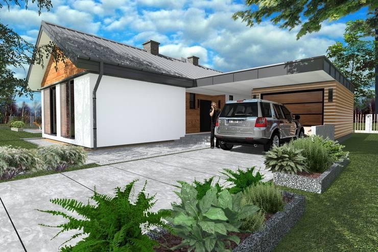 DZ-4 - dom energoszczędny: styl , w kategorii Domy zaprojektowany przez ABC Pracownia Projektowa Bożena Nosiła - 1