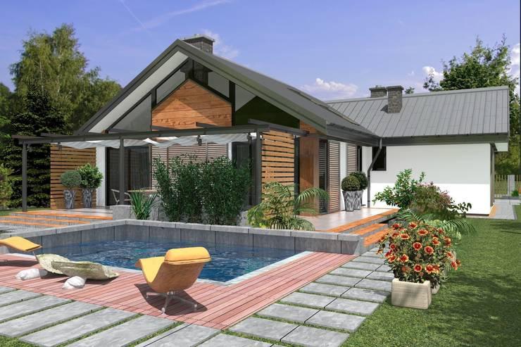 DZ-4 – dom energoszczędny: styl , w kategorii Domy zaprojektowany przez ABC Pracownia Projektowa Bożena Nosiła - 1
