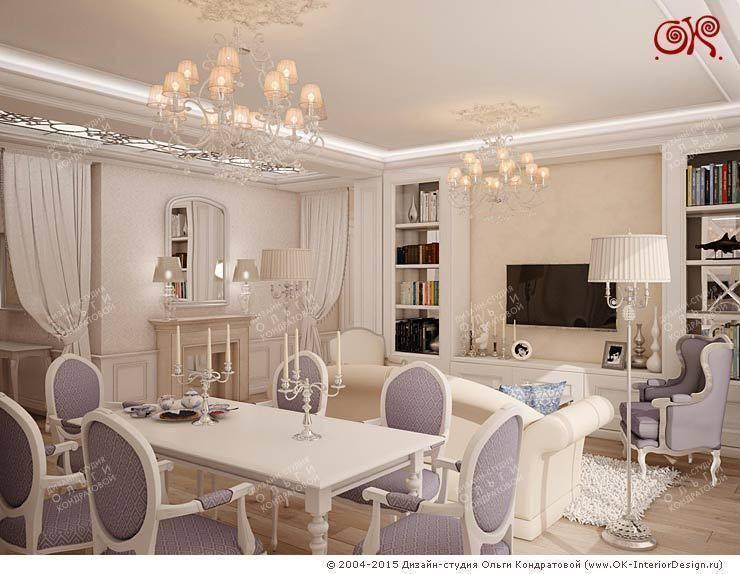 Дизайн гостиной в квартире на Войковской: Столовые комнаты в . Автор – Дизайн студия Ольги Кондратовой,