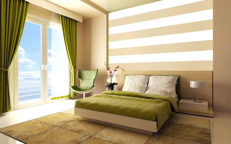 Tapeta w pasy poziome biało-beżowa: styl , w kategorii Ściany zaprojektowany przez Dekoori