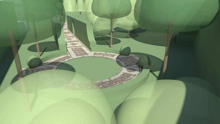 widok na placyk : styl , w kategorii  zaprojektowany przez Autorska Pracownia Architektury Krajobrazu Jardin