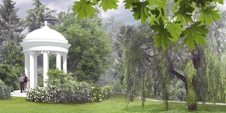 widok na altanę: styl , w kategorii  zaprojektowany przez Autorska Pracownia Architektury Krajobrazu Jardin