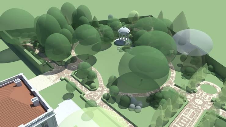 widok z lotu ptaka : styl , w kategorii  zaprojektowany przez Autorska Pracownia Architektury Krajobrazu Jardin