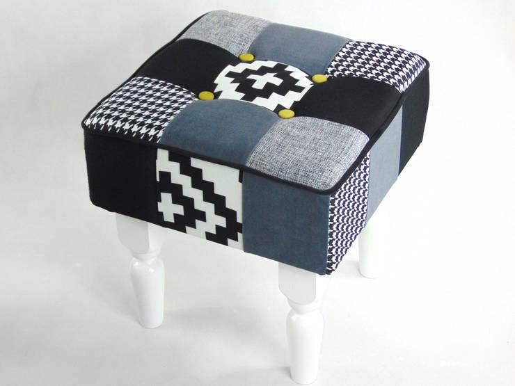 Pufa patchwork: styl , w kategorii Salon zaprojektowany przez LandAproject