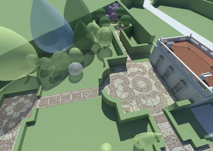 widok na gabinet przy domku dla gości: styl , w kategorii  zaprojektowany przez Autorska Pracownia Architektury Krajobrazu Jardin