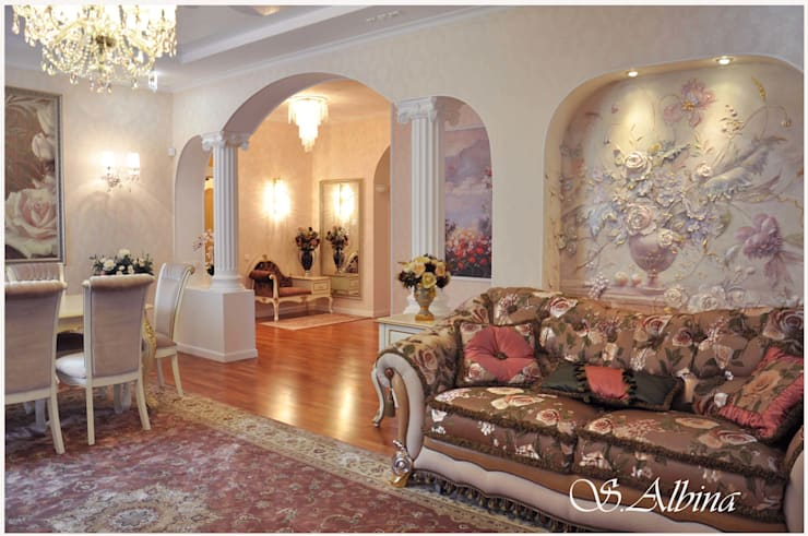Дизайн проект квартиры по улице Гастелло  (2010-2011г): Гостиная в . Автор – студия авторского дизайна  Альбины Сибагатулиной