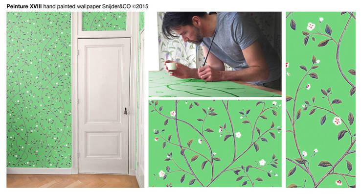 Hand painted wallpaper Peinture XVIII: klasieke Woonkamer door Snijder&CO