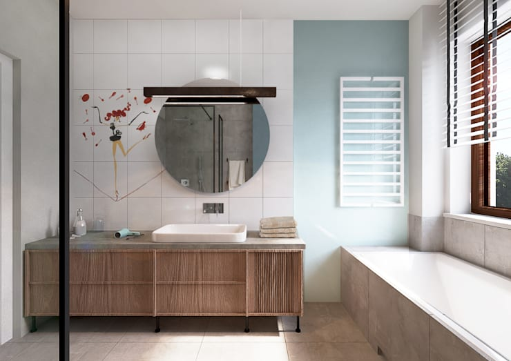 Projekt domu we Wrocławiu 1: styl , w kategorii Łazienka zaprojektowany przez COI Pracownia Architektury Wnętrz,Industrialny