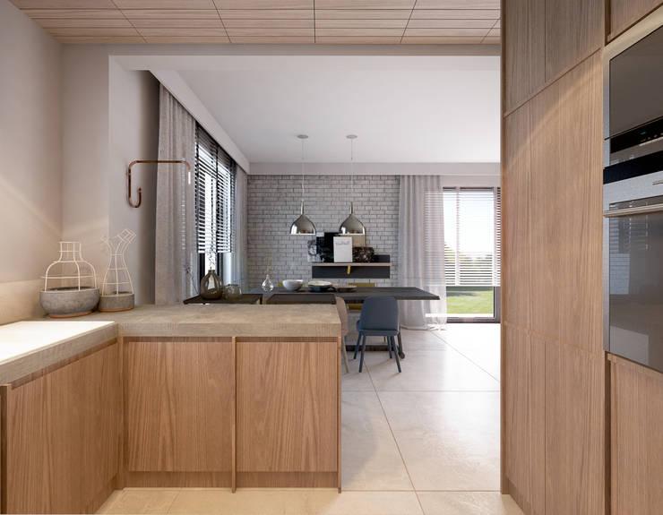 Projekt domu we Wrocławiu 1: styl , w kategorii Kuchnia zaprojektowany przez COI Pracownia Architektury Wnętrz,Industrialny