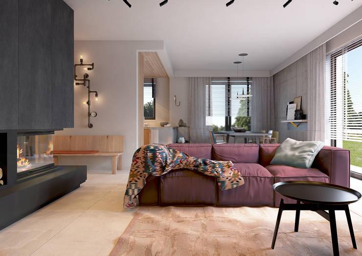 Projekt domu we Wrocławiu 1: styl , w kategorii Salon zaprojektowany przez COI Pracownia Architektury Wnętrz,Industrialny