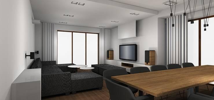salon: styl , w kategorii Salon zaprojektowany przez Kraupe Studio