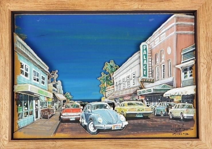ハワイ島(ビッグアイランド)ヒロの街を描いた作品: ヒロ・デザイン・ラボが手掛けたアートです。,