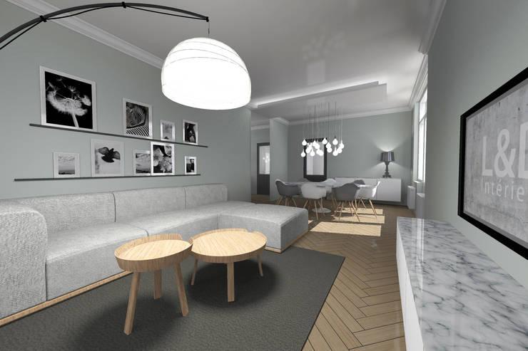 Aménagement d'un rez-de-chaussée d'une maison individuelle: Salon de style de style Moderne par L&D Intérieur