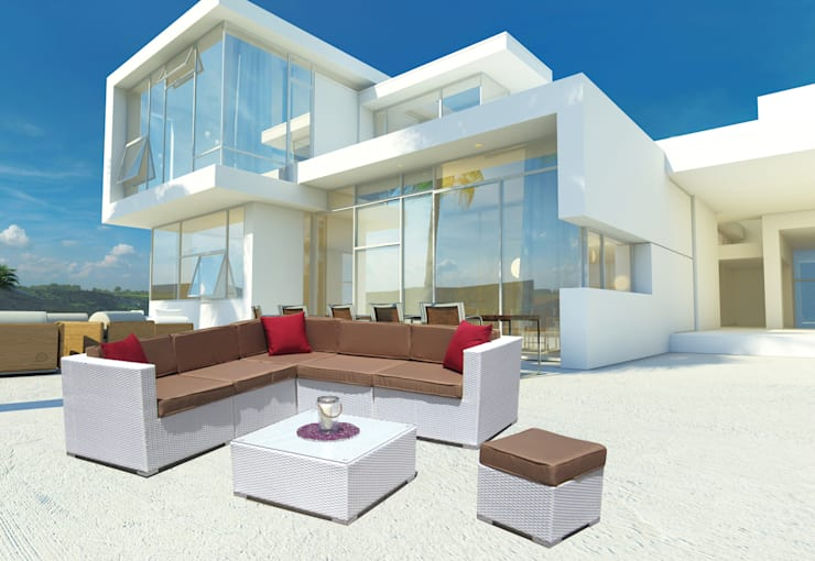 Set salotto angolare da giardino Kartik: Balcone, Veranda & Terrazzo in stile  di LuxuryGarden.it