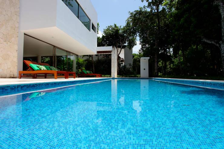Casa T: Albercas de estilo  por Enrique Cabrera Arquitecto