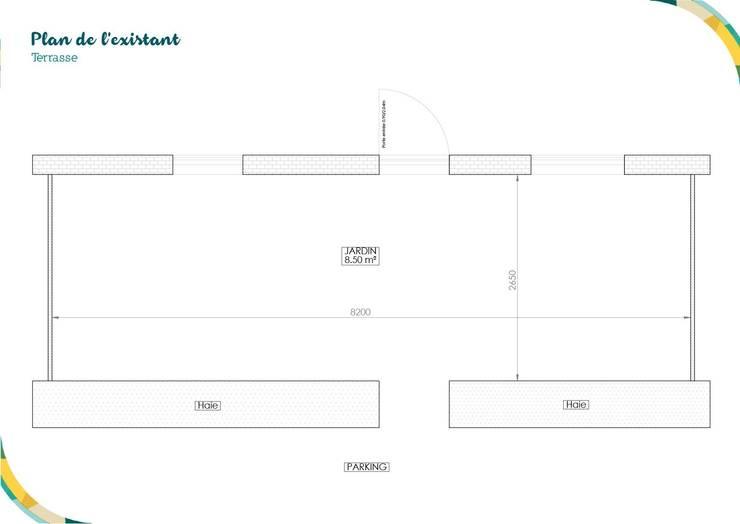 Plan de l'existant: Terrasse de style  par Angèle Ethuin - Designer d'intérieur & Coloriste