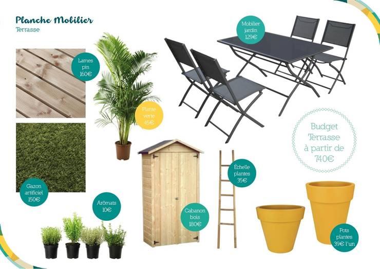Planche mobilier de la terrasse: Terrasse de style  par Angèle Ethuin - Designer d'intérieur & Coloriste