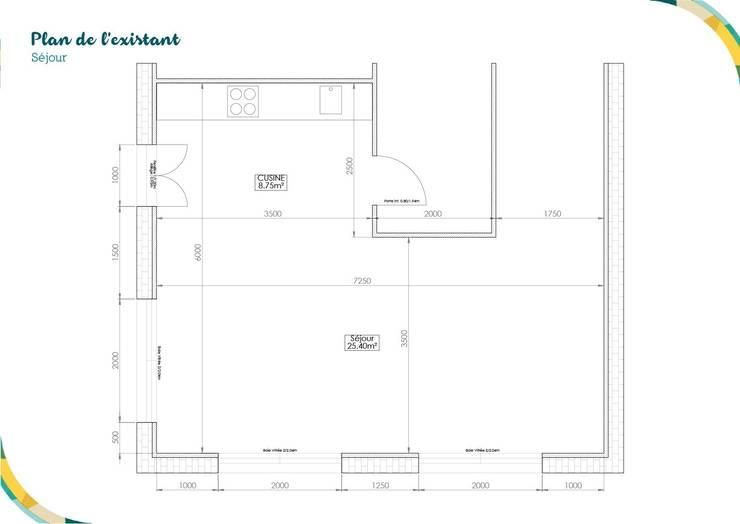 Plan de l'existant: Salon de style de style Scandinave par Angèle Ethuin - Designer d'intérieur & Coloriste