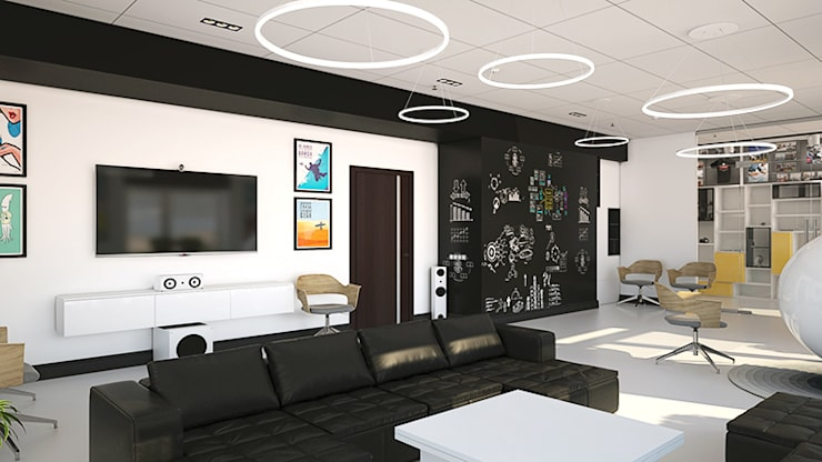 Черная маркерная стена в холле: Офисы и магазины в . Автор – IdeasMarket