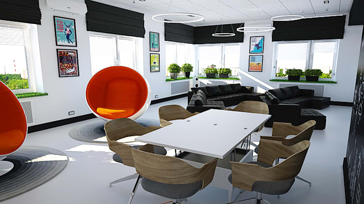 Минималистичный функциональный интерьер для компании iFunny: Офисы и магазины в . Автор – IdeasMarket