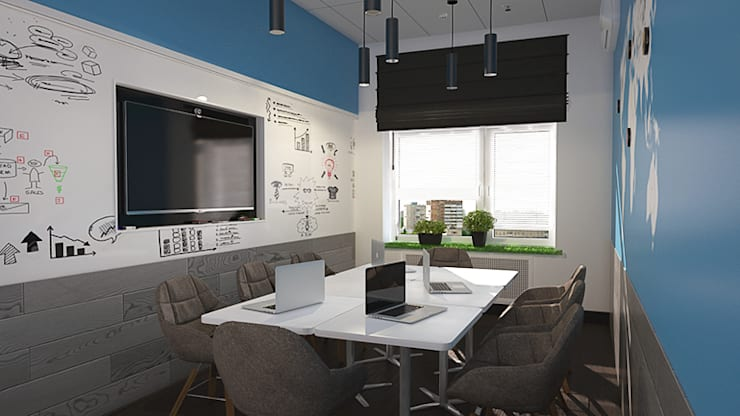Магнитно-маркерные покрытия в переговорных: Офисные помещения в . Автор – IdeasMarket
