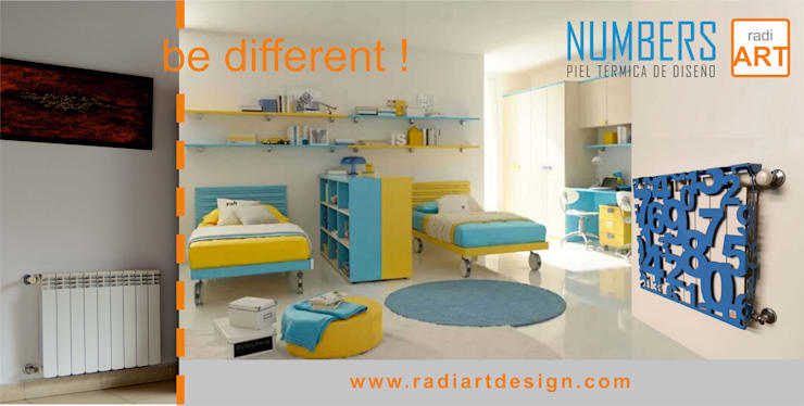 radiART diseño Numbers: Dormitorios infantiles  de estilo  por Postigo design