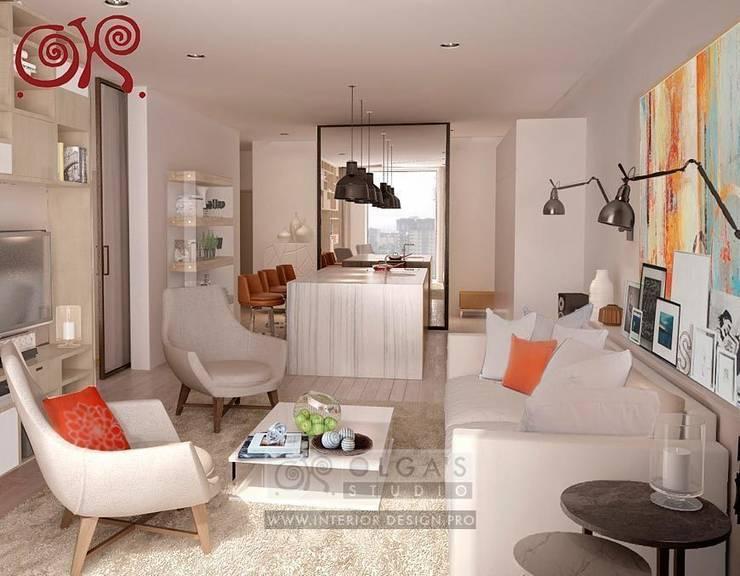 В первом варианте интерьера гостиной с элементами стиля 60-х используются яркие оранжевые акценты: Гостиная в . Автор – Olga's Studio,