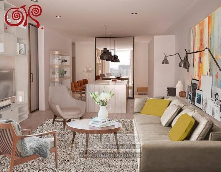 Второй вариант интерьера гостиной-столовой: Гостиная в . Автор – Olga's Studio,
