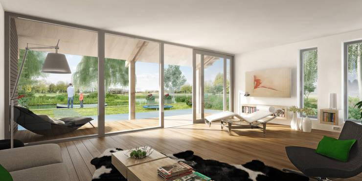 tuingerichte woonkamer:   door KAW architecten, Landelijk