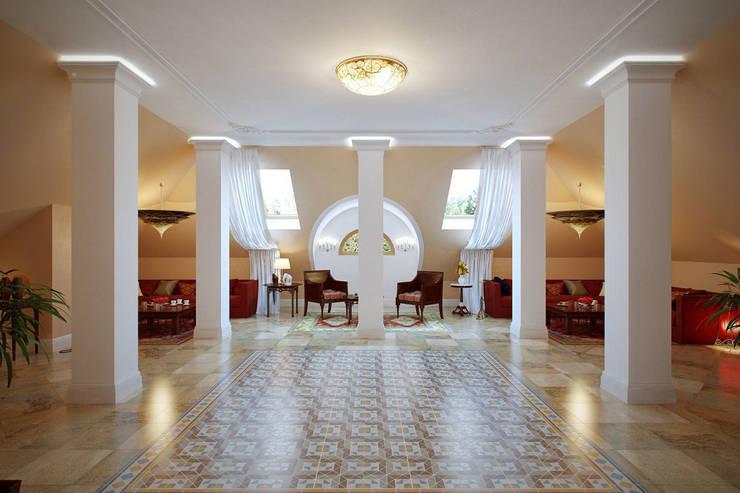 Мансардный этаж в восточном стиле: Медиа комнаты в . Автор – Студия интерьера 'SENSE', Азиатский