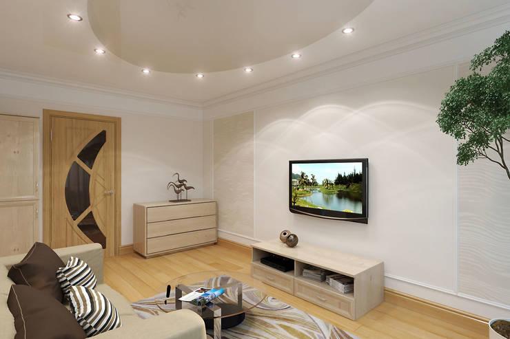 Интерьер квартиры с намеком на фэн-шуй: Гостиная в . Автор – Студия интерьера 'SENSE', Эклектичный