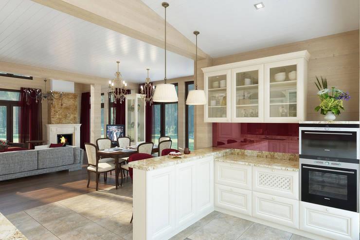 Интерьер дома в поселке <q>Особый Статус</q>: Кухни в . Автор – Студия интерьера 'SENSE'