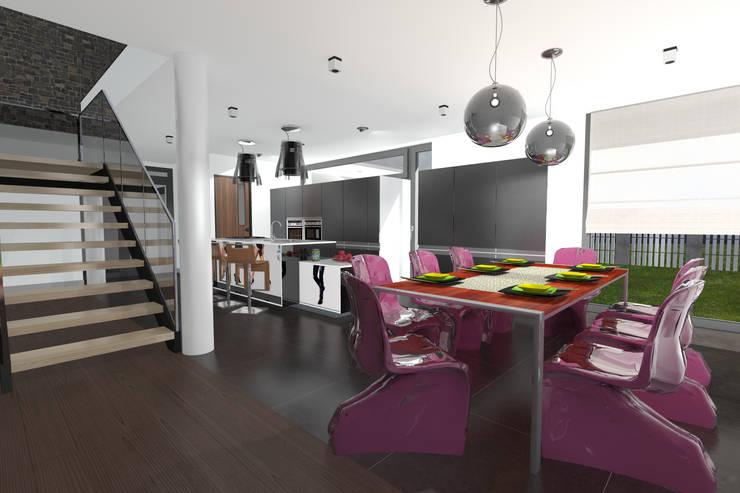 Dom Passive_Luxury_1: styl , w kategorii Jadalnia zaprojektowany przez ABC Pracownia Projektowa Bożena Nosiła,Minimalistyczny