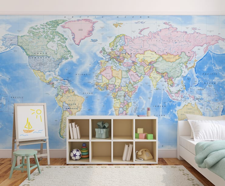 World Map Wallpaper:  Nursery/kid's room by Love Maps On Ltd.