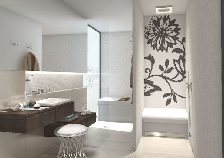 De zitbank in de douche: eclectische Badkamer door wedi