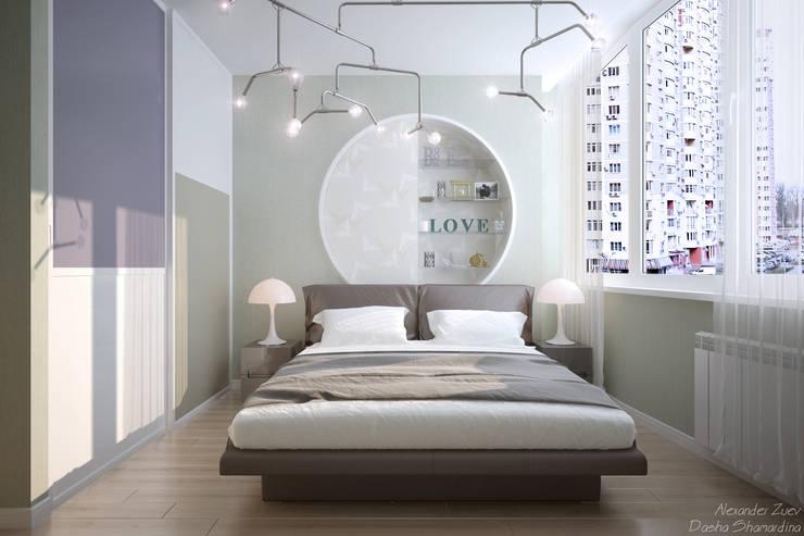 """Дизайн спальни в современном стиле в ЖК """"Новый город"""": Спальни в . Автор – Студия интерьерного дизайна happy.design"""