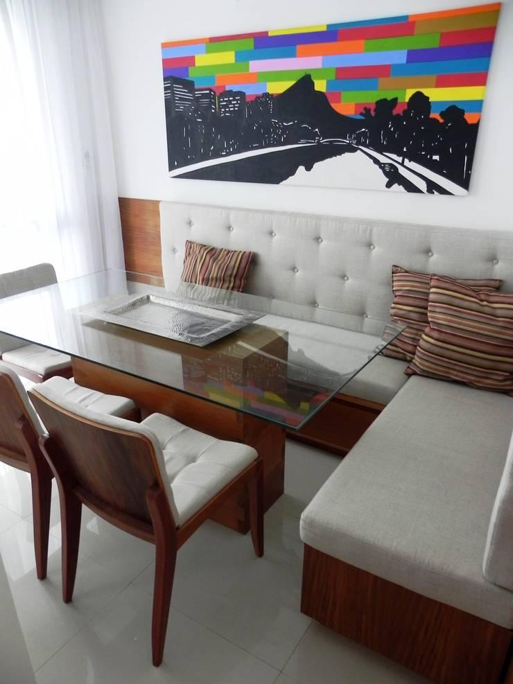 APARTAMENTO M|L: Salas de jantar  por Lote 21 Arquitetura e Interiores