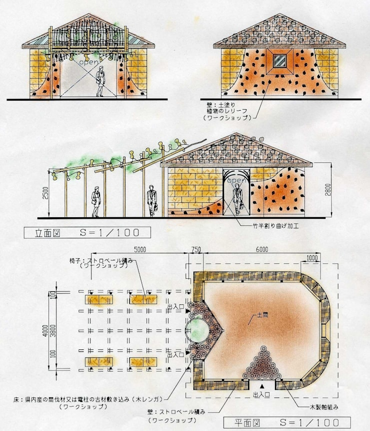 平面図 立面図: アトリエ・K建築設計工房一級建築士事務所が手掛けた折衷的なです。,オリジナル