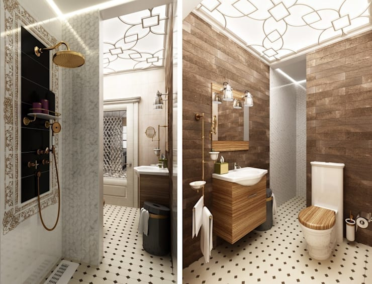 1 этаж. Ванная комната: Ванные комнаты в . Автор – WhiteRoom