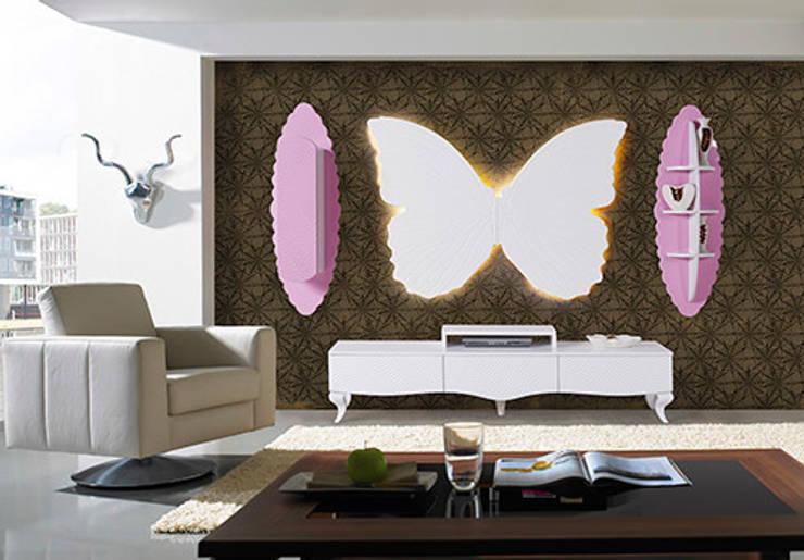 Füme Mobilya – Kelebek Tv Pembe: modern tarz Oturma Odası
