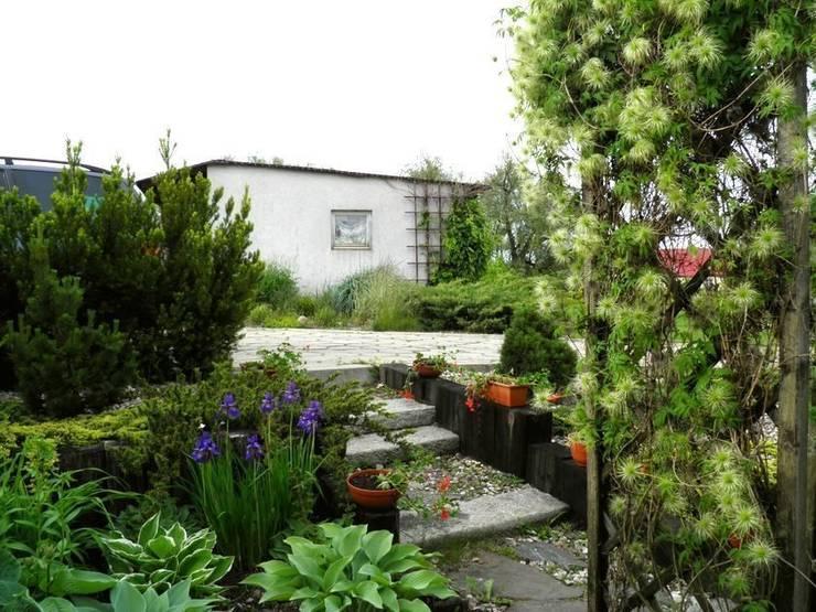 Funkie, irysy i powojnik: styl , w kategorii  zaprojektowany przez Garden Ekspert Studio Architektury Krajobrazu