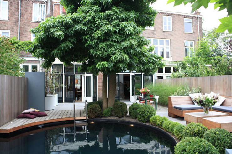 Moderne stijlvolle stadstuin in centrum Haarlem:  Zwembad door Biesot
