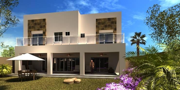 Visualización en 3D Fachada posterior:  de estilo  por Acrópolis Arquitectura